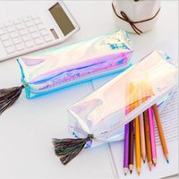 pen bag korean stationery new top sell product multi colors high-capacity 20*7*5cm Cool laser design square BBF9084