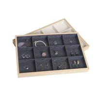 Jewelry Pouches, Bags 12 Grids Bamboo Velvet Display Tray Ring Earring Necklace Bracelet Pendant Organizer Storage For Drawer