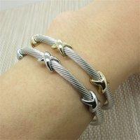Nuovo braccialetto gioielli all'ingrosso singoli cavi in acciaio braccialetti X forma Bracciale in acciaio in acciaio in acciaio inox braccialetto uomo Bangle 482 Q2