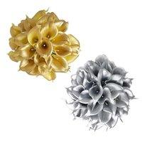 Dekorative Blumen Kränze Latex PU Calla Lilies Golden Silber Simulation Pflanze Blumenstrauß Hochzeit Dekor DIY 36 cm Garten Arrangement Floral o