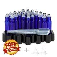 24 pcs 10ml rolos de vidro garrafas vazio cobalto azul com rolo de metal aço inoxidável na bola para Óleos essenciais Lip Gloss perfume