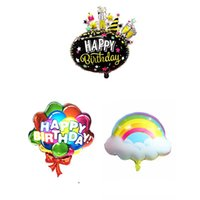 Party Decoration Colorful Cloud Birthday Flower-shaped Ball Atmosphere Layout Aluminum Foil Balloon Letter Firework Shape Bal
