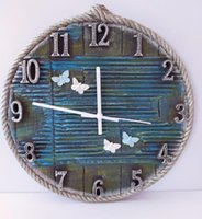 Candle Holders Wire Rope Wooden Decorative Wall Clock