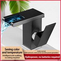 Robinet d'évier de salle de bain LED Robinet lumineux Robinet d'eau Température Contrôle de la température Discoloration Changement de cuisine à trois couleurs