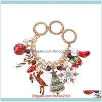 Link, Chain Bracelets Jewelryrose Gold Snowflake Drip Glaze Tree Santa Socks Fawn Circle Ladies Bracelet Fashion Jewelry Christmas Gift Y201