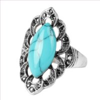 Cluster Rings FYJS Unique Antique Silver Plated Marquise Shape Green Turquoises Stone Finger Ring With Crystal Jewelry