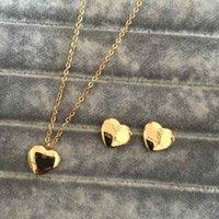 High Polished Classic Design Frauen Ohrringe Halskette Edelstahl Gold Silber Rose Farben Sets Herz Liebe Anhänger Trendy Schmuck Großhandel