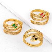 الجملة الصين الصانع مطلية بالذهب حساسة النحاس الملونة الزركون ثعبان دارجون خواتم للنساء