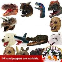 Cabeça de borracha macia cabeça animal fantoche figura brinquedos luvas de dinossauro para crianças modelo de dinossauro de presente fantoche brinquedos 210607