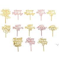 Mutlu Anneler Günü Kek Topper Parti Malzemeleri Akrilik Gül Altın Dekorasyon OWB6238