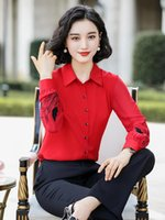 Women's Two Piece Pants 2021 Women Spring Autumn Fall Elegant Blouse Shirt Full Embroidery Sleeve Red Black White Female Ladies Tops S-4XL