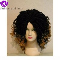Fast shipping 14'' Crochet Twist Braids wig Ombre Braiding Hair full lace front wig Senegalese short Braids wig with Curly tips