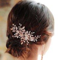 Bruids Sieraden Rose Goud Haar Kammen Pins Bloemblad Hoofd Stukken Opaal Crystal Haarspelden Voor Bruiden Dames Meisje Huwelijk Accessoires