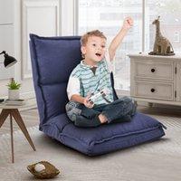 Mobília do quarto orisfur. Tecido estofado dobrando o piso ajustável da cadeira do sofá preguiçoso (azul da marinha)