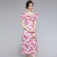 2021 pist yüksek moda çiçek elbise bayanlar tasarımcı yaz sonbahar kısa kollu kepçe boyun baskılı tatil parti ofis seksi ince a-line elbiseler tatlı kadın giyim