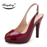 Baoyafang Open Toe 10.5 см Высокие каблуки Сандалии Круглый Peep Женская вечеринка Обувь Женщина Свадебное вино Красная Патентная Кожа