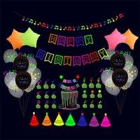 Feliz cumpleaños Globos FLUORESCENTE Party Decorations Lets de cumpleaños Bandera Pastel Insertar Globo Set Latex Star Aluminio Globo G52YUTR