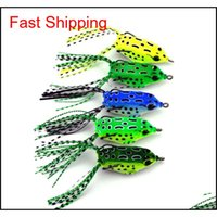 Baits Sports Outdoors Drop Delivery 2021 5Pcs Tube Plastic Fishing Lures Treble Hooks Mini Frog Lure 5Dot5Cm 8G Artificial Soft Bait 2508041