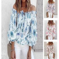 2021 sexy one neck off shoulder chiffon shirt women's loose Print Long Sleeve T-Shirt