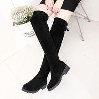 Yeni Uyluk Yüksek Çizmeler Kadın Diz Çizmeler Üzerinde Moda Seksi Kadınlar Siyah Düz Topuk Ayakkabı Faux Süet Sonbahar Kış Ayakkabı1
