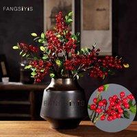 Dekorativa blommor kransar amerikanska 3 gaffel konstgjorda blomma simulering växter bär jul vardagsrum modell dekoration röd blåbär