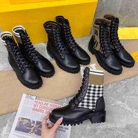 Designer rockoko maglia stivali classici donne combattimento caviglia martin boot in pelle moto in pelle stretch tessuto scarpe casual scarpe invernali piattaforma media-top bottini