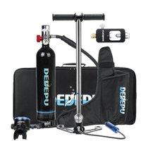 Set de cilindro de oxígeno de buceo portátil conjunto Mini tanque de buceo respirador Mano de la bomba de mano con accesorios para bolsos