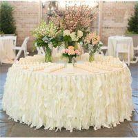 Românticas Ruffles Table Saia Handmade Decorações De Mesa De Casamento Personalizado Feito Custom Feito Marfim Branco Organza Bolo De Mesa De Mesa Ruffles