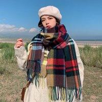 Scarves Thick Warm Winter Scarf Women Cashmere Pashmina Shawl Lady Wrap Tassel Knitted Men Foulard Blanket Unisex Hijab 2021