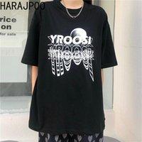 Kadın T-Shirt 2021 Yaz Kore Harajuku Basit Ay Yansıma Mektup Baskı Gevşek Kısa Kollu Çift En Gelgit kadın T-shirt