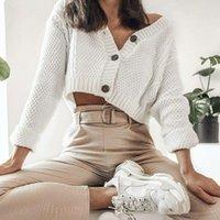 Antumn Cardigan женщин зимний длинный рукав сплошной плюс размер негабаритной кнопкой вязаный свитер пустотела V-шеи трикотаж 210515