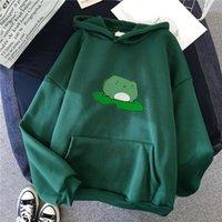 Women's Hoodies & Sweatshirts Winter Frog Oversized Sweatshirt Men And Cute Plus Velvet Harajuku Warm Pullover Drawstring Womens Korean Styl