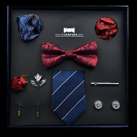 New Solid Color Silk Men Tie Set Polyester Jacquard Woven Necktie Bowtie Suit Vintage Red Blue For Groom Business Wedding Party