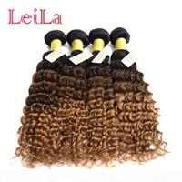 Brazilian Human Hair 4bundles Deep Wave Curly 1B 4 27 Pacotes de Cabelo Virgem Ombre de LeilabeauthAir Wave profundo 1B 4 27 Bundéis