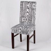 의자 커버 도착 1pc 가정용 백색 베이지 5 색 인쇄 나무 줄무늬 스트레치 스판덱스 커버 가정용 카페 엘 장식