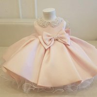 Girl's Dresses White Wedding Satin Princess Baby Girls Dress Bead Bow Birthday Evening Party Infant For Girl Gala Kid Clothes 2 8 10 Year