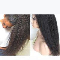 처리되지 않은 버진 높은 포니 테일 전체 레이스 가발 브라질 변태 스트레이트 굵은 야키 인간의 머리카락 전체 레이스 가발 흑인 여성