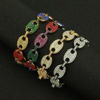 Hip Hop 13mm 20 cm Multi-Color Eured Out Kette Armband Strass Gold Gold Kaffeebohnen Link Kette Armbänder Armreif Für Männer Vintage Schmuck