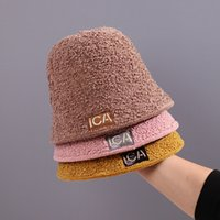 bucket hat Jiaermei pure color pasted cloth buet cute cover autumn winter warm lamb wool basin