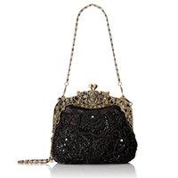 Frauen antike Perlen-Party-Clutch-Weinlese-Rosen-Geldbörse Abendhandtasche
