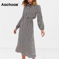 Повседневные платья AA ACHOAE Элегантное гусеничное платье женщин осень весенний лук шеи винтажную клетку MIDI фонарь с длинным рукавом Sundress