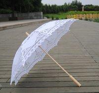 2021 New solid color lace parasols Bridal wedding umbrellas white color available