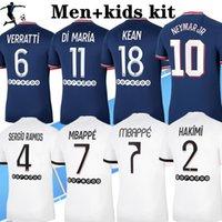 2021 2022 MBAPPE Jerseys de fútbol Hakimi Sergio Ramos 21 22 Mailots De Fútbol Camisa Marquinhos Verratti Men Kit Kit Uniformes Enfants Maillot Foot Fourth
