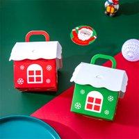 10 أجزاء / وحدة لطيف عيد الميلاد المقصورة مربع الحلوى الكرتون المطبوعة diy ورقة مربع ل كوكي وجبة خفيفة الشوكولاته تخزين حالة هدية packagin