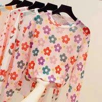 Women's T-Shirt Printing Long Sleeve O-neck Gauze Women Korean Allmatch Slim Sreet Summer Thin Tops Ladies 2021 Casual Silk Tee
