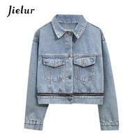 Women's Jackets Blue Denim Women Jacket 2021 Autumn Winter Coat Long Sleeve Loose Chic Jeans Short Outwear Slim S-XL