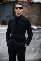 Men's Suits & Blazers Men Peaked Lapel Double Breasted Business Suit Set Blazer Jacket Tuxedos Groom Wedding 2 Piece Coat Pants
