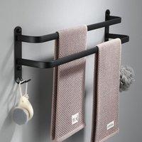 Porta asciugamano nero opaco Parete a parete Spazio bagno Spazio in alluminio Singolo strato multistrato Accessori Gancio 30-60 cm Racks