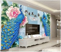 Custom photo wallpapers 3d murals wallpaper Modern blue flower jade carving peony peacock living room background wall papers home decoration