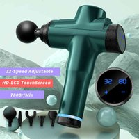 2021 New 32-speed 7800r Massage Gun LCD Display Body Exercising Muscle Electric Massager For Body And Neck Vibrator Lactic Freed 210324